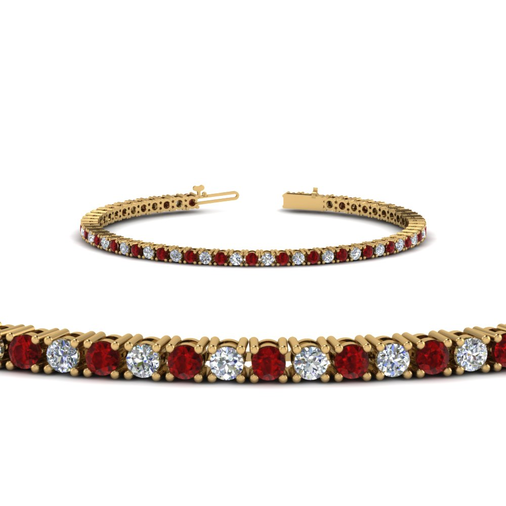 Diamond Tennis Bracelet With Ruby