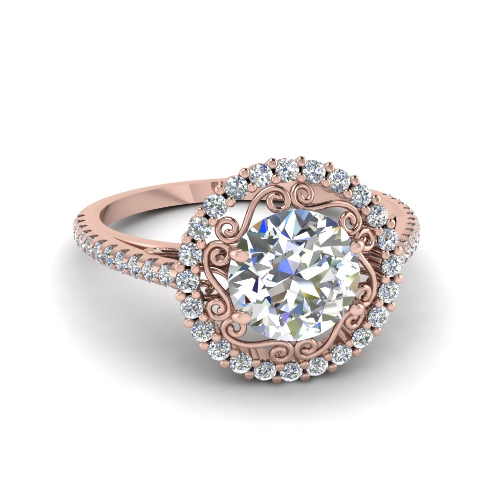 filigree halo diamond engagement ring in FD68924ROR NL RG