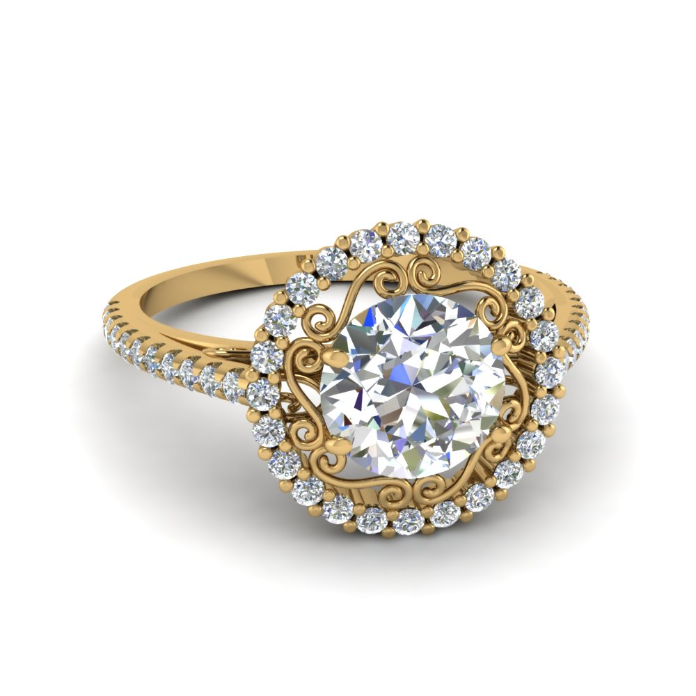 filigree halo diamond engagement ring in FD68924ROR NL YG