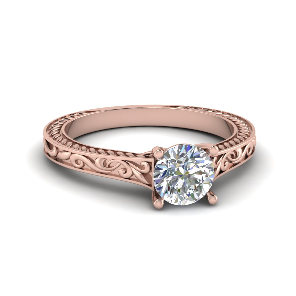 14k Pink Gold Solitaire Engraved Ring
