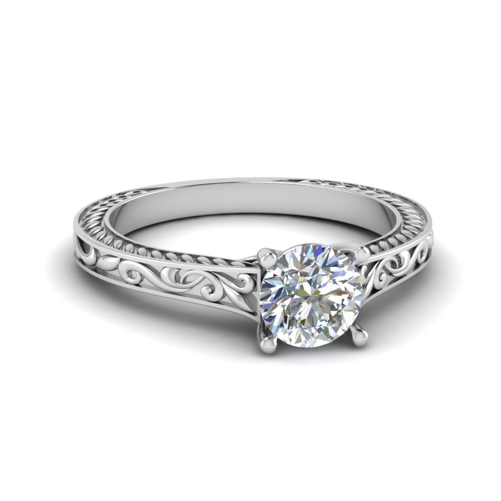 Filigree Solitaire Diamond Ring
