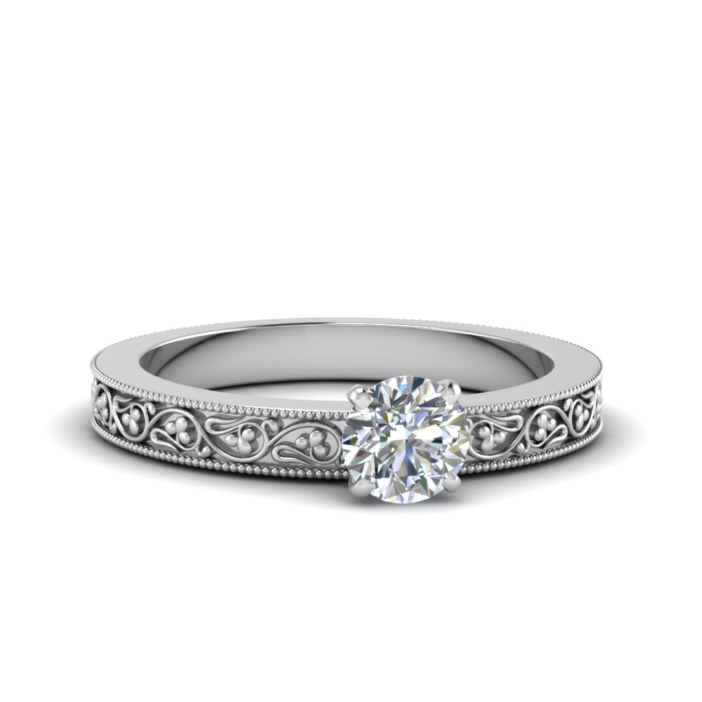 round cut filigree solitaire diamond engagement ring for women in 14K white gold FDENS3627ROR NL WG