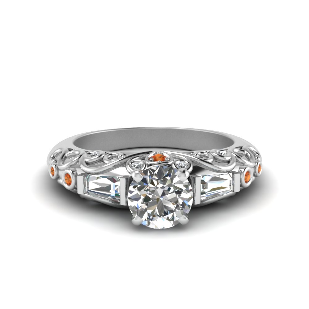 antique engraved baguette with orange sapphire and diamond engagement ring in FD62283RORGSAOR NL WG