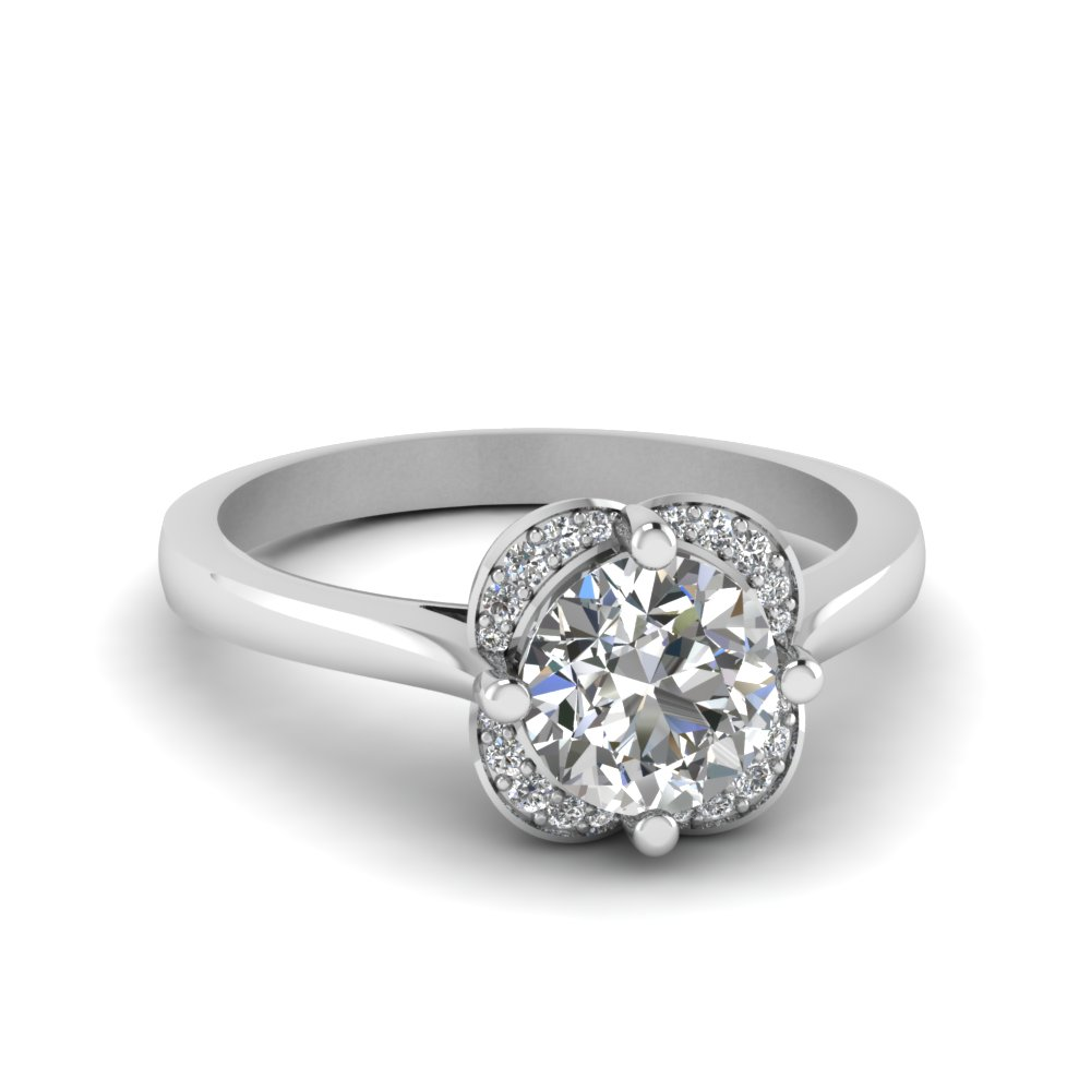Flower Diamond Engagement Ring