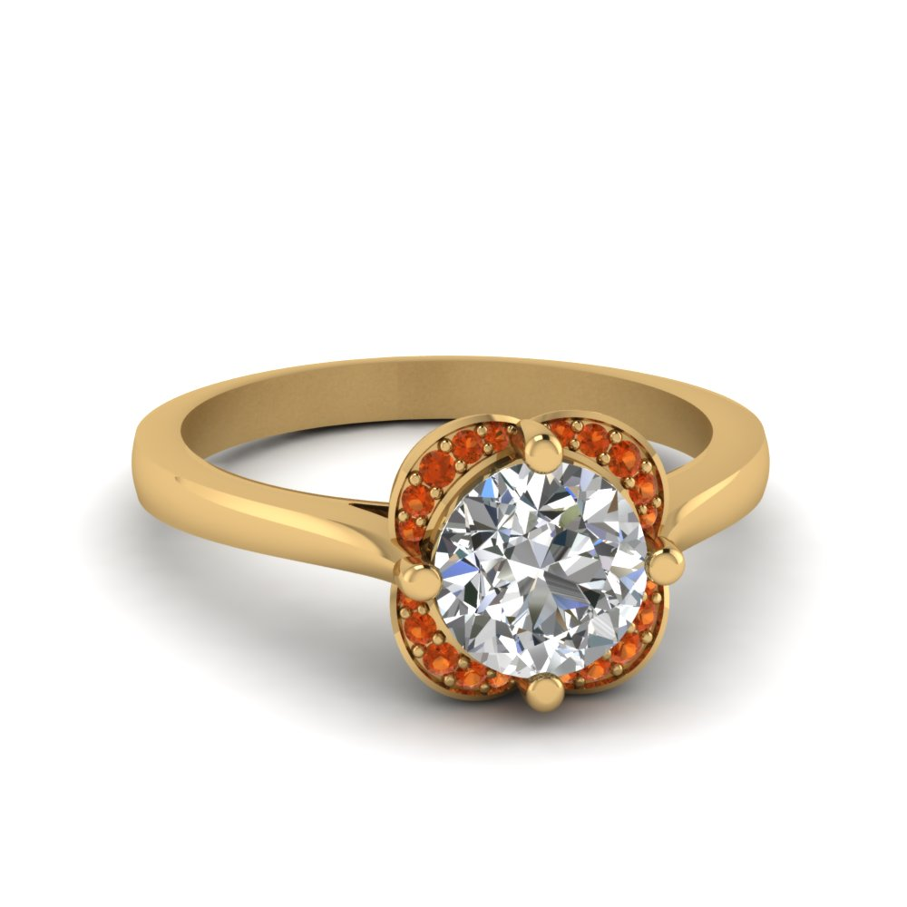 round cut floral halo diamond engagement ring with orange sapphire in 14K yellow gold FDENR9191RORGSAOR NL YG