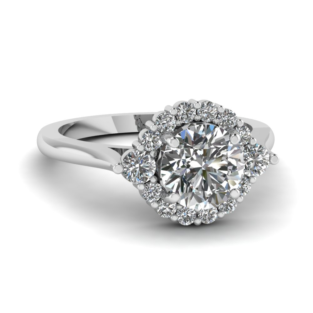round cut floral halo diamond engagement ring in FD1138ROR NL WG
