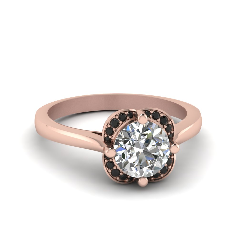 round cut floral halo engagement ring with black diamond in 14K rose gold FDENR9191RORGBLACK NL RG