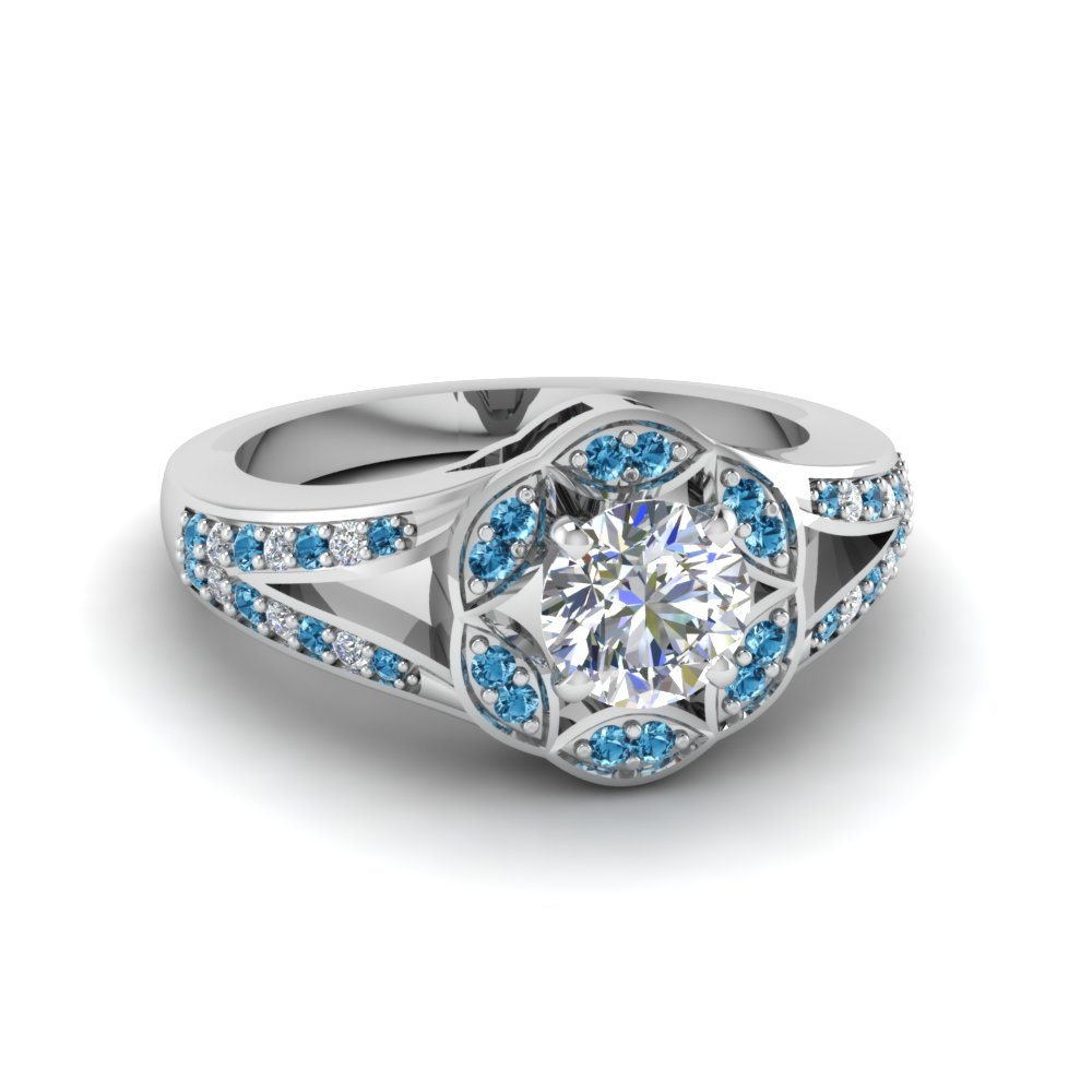 round cut floral halo split diamond engagement ring with ice blue topaz in FDENS3259RORGICBLTO NL WG