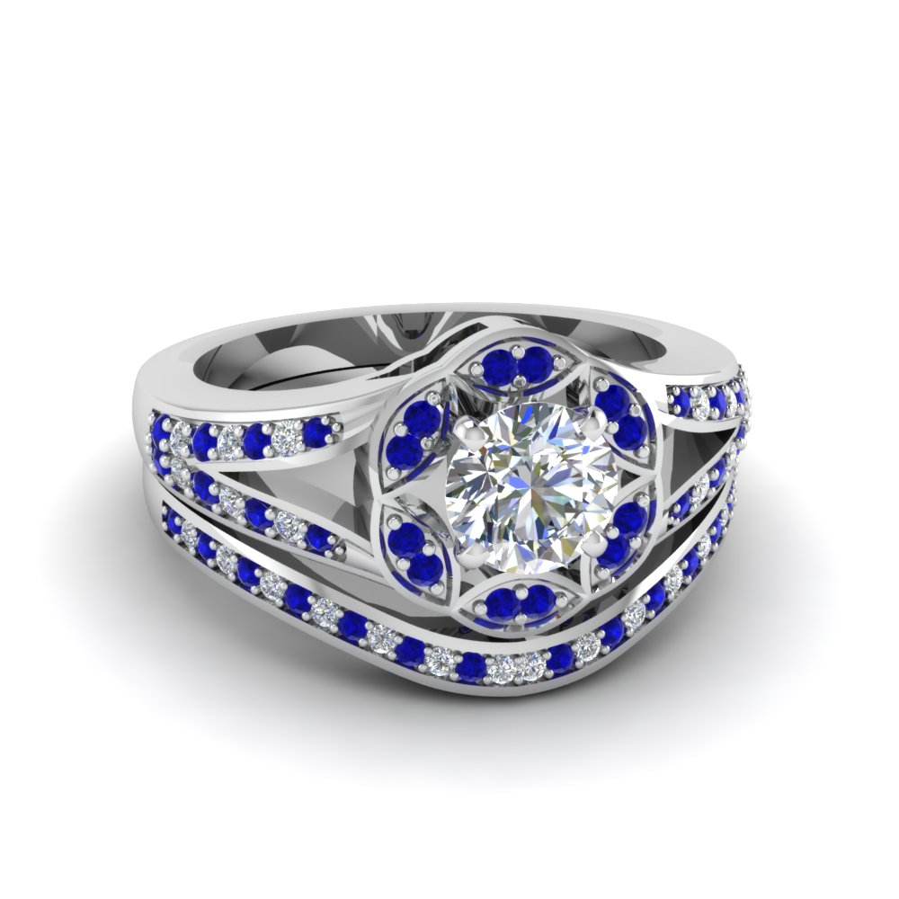 Round cut floral halo split diamond wedding ring set with for Blue sapphire wedding ring set