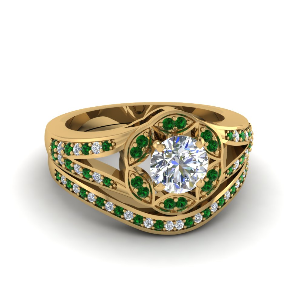 Floral Halo Emerald Wedding Ring Set