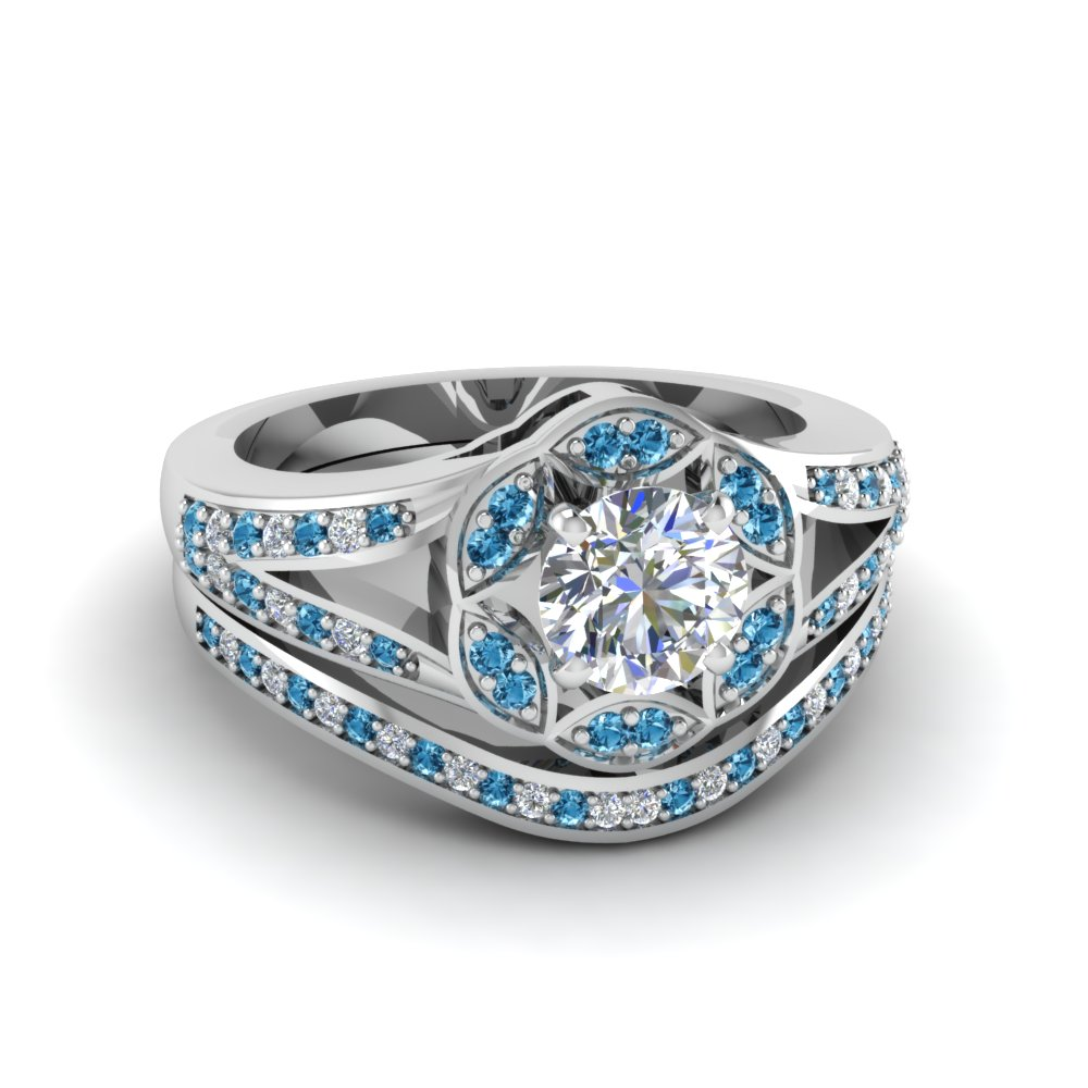 Round Cut Floral Halo Split Diamond Wedding Ring Set With