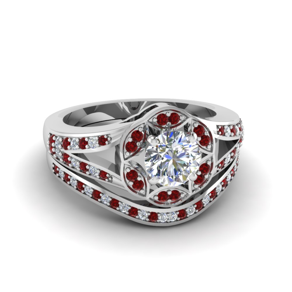 Halo Split Shoulder Ruby Ring And Band