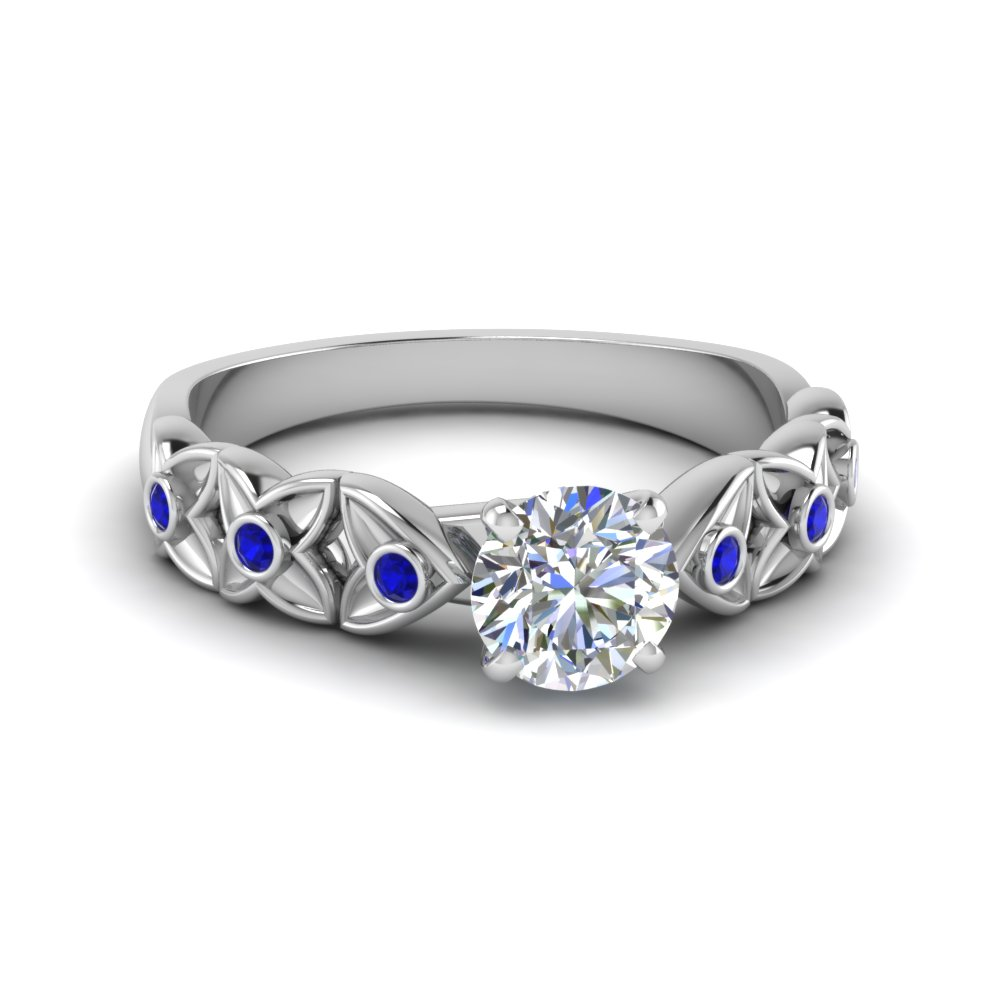 round cut diamond floral accent sapphire engagement ring in FD121955RORGSABL NL WG