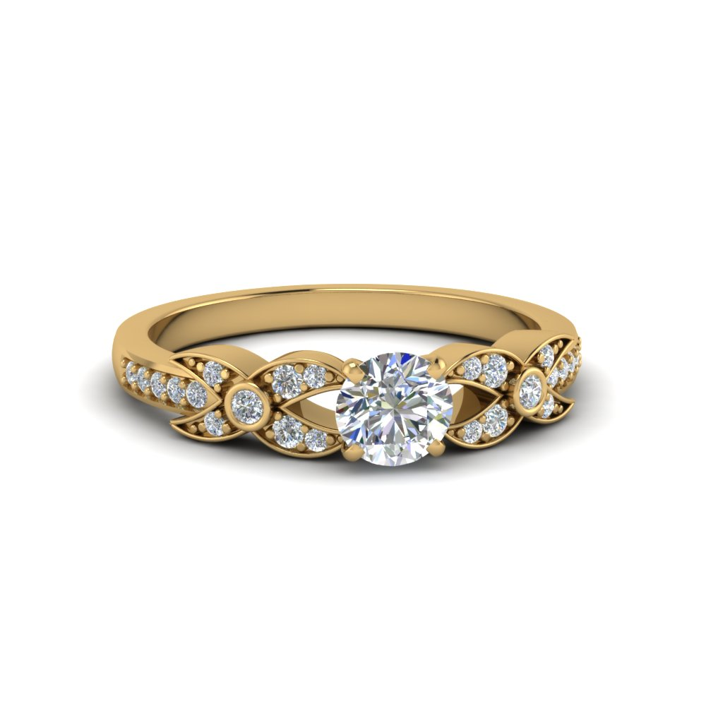 round cut flower pave diamond ring in 14K yellow gold FDENS3322ROR NL YG