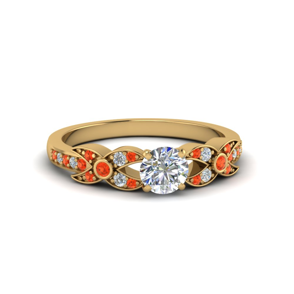 Yellow Gold Orange Topaz Engagement Ring