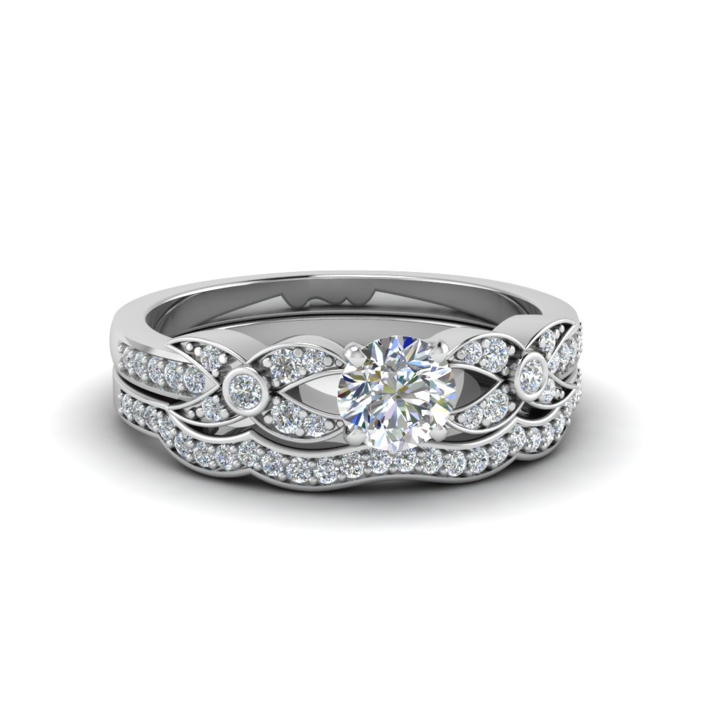 round cut flower pave diamond wedding ring set in FDENS3322RO NL WG