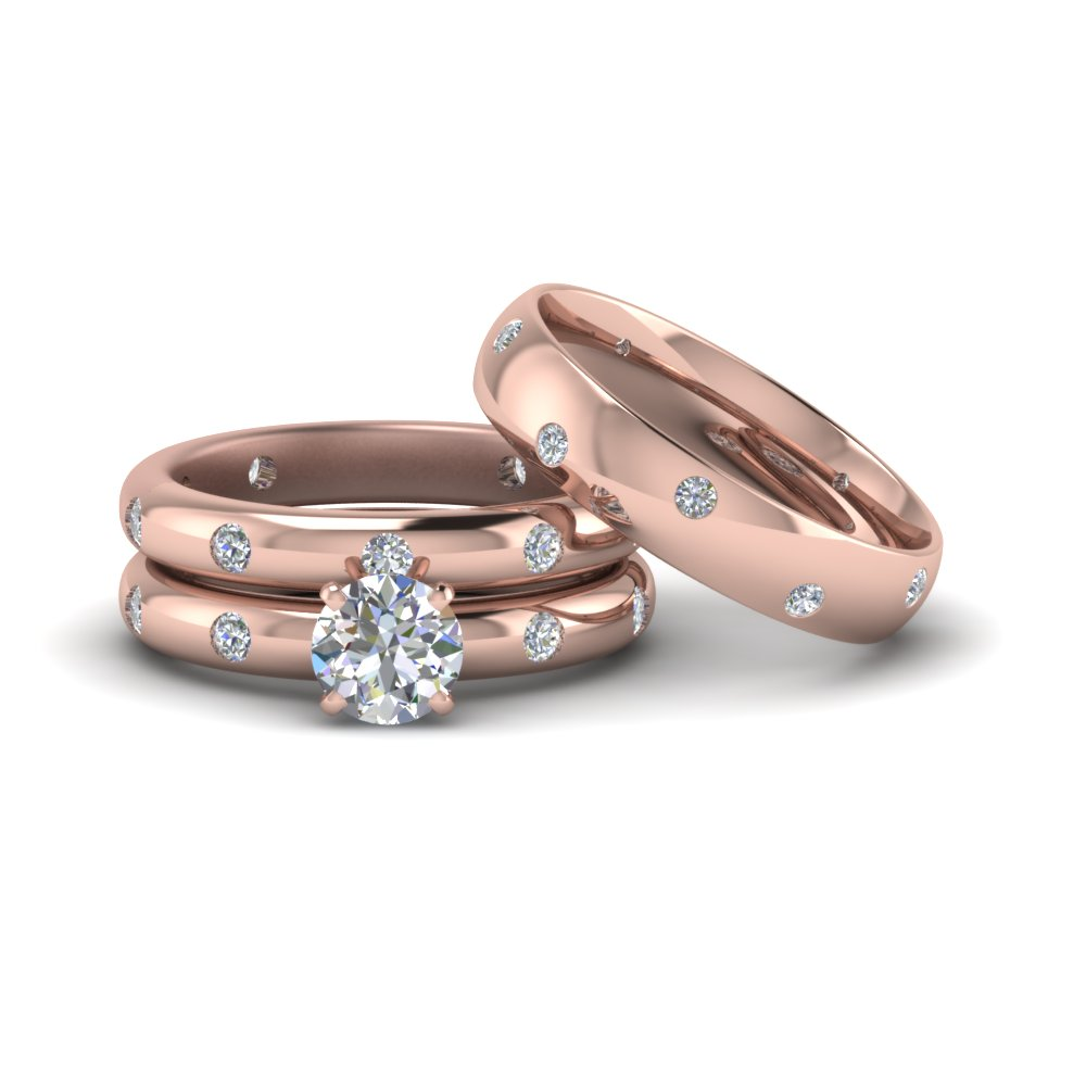 Flush Set Trio Matching Diamond Wedding Rings For Couples