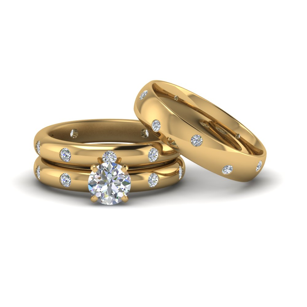 Flush Set Wedding Rings For Couples
