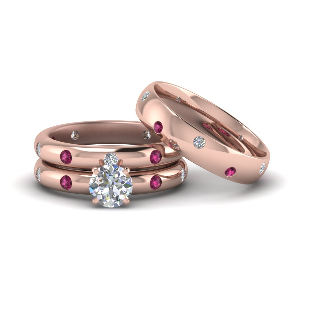 Round Cut Flush Set Trio Matching Diamond Wedding Rings For Couples With  Pink Sapphire In FD8223TROGSADRPI