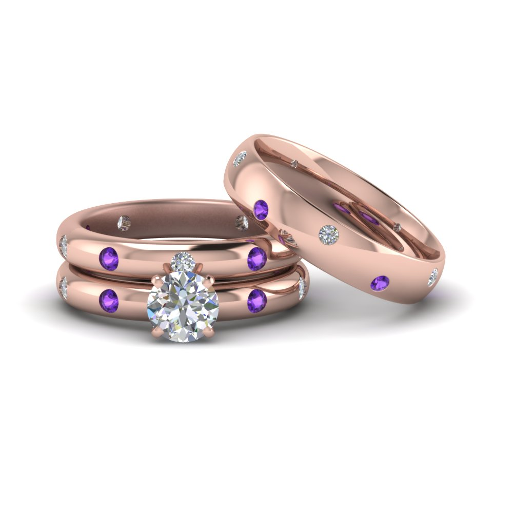 flush set trio matching diamond wedding rings for couples with violac topaz in 14K rose gold FD8223TROGVITO NL RG