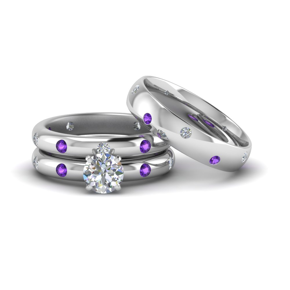 Flush Set Trio Matching Diamond Wedding Rings For Couples With
