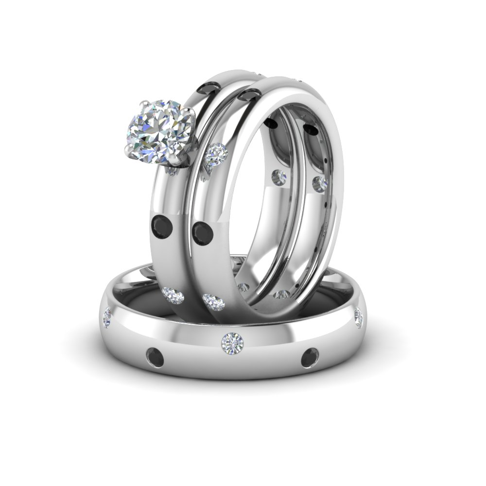 Round Cut Flush Set Trio Matching Wedding Rings For Couples With