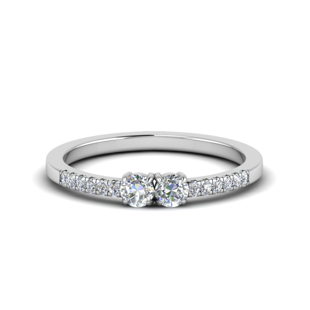 french pave 2 round diamond engagement ring in 14K white gold FD122196ROR NL WG