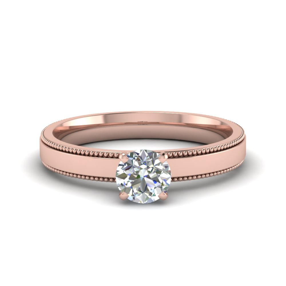 Round Cut Glossy Milgrain Single Stone Engagement Ring In 14k Rose