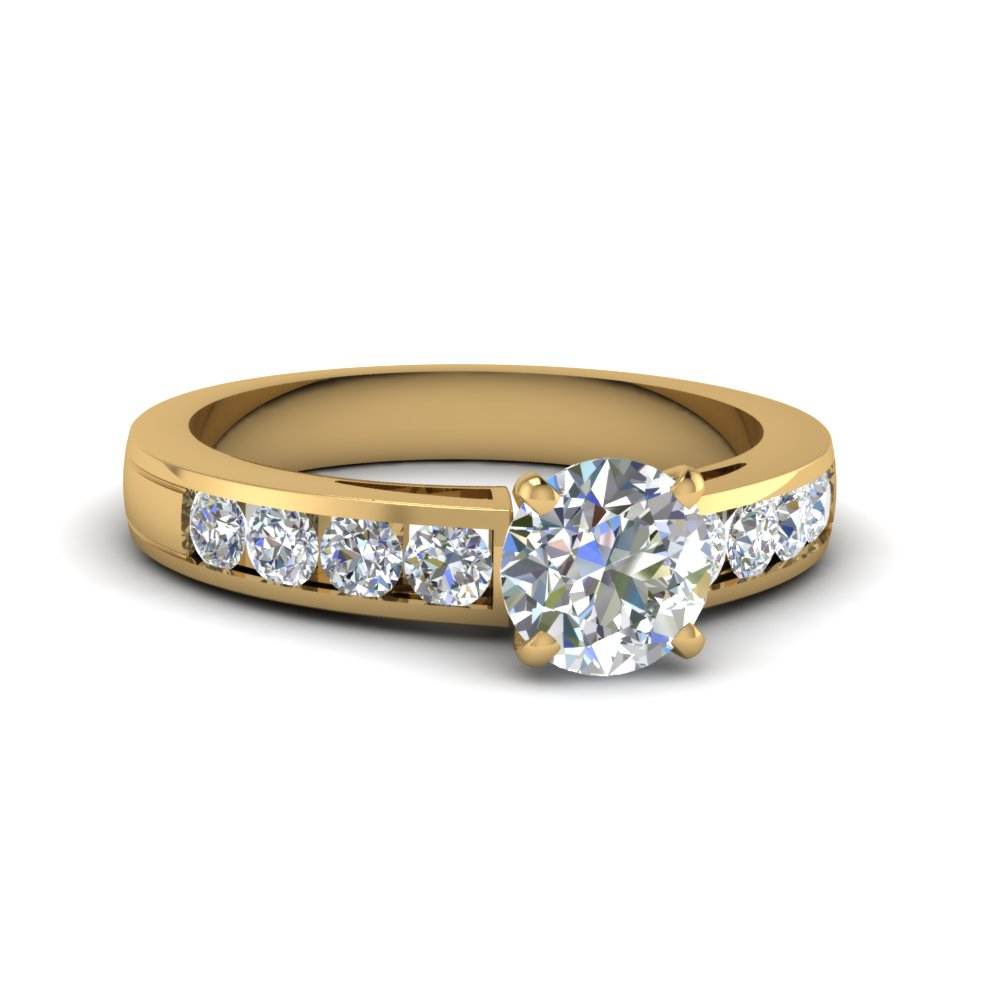 Timeless Channel Round Diamond Engagement Ring In 14K ...