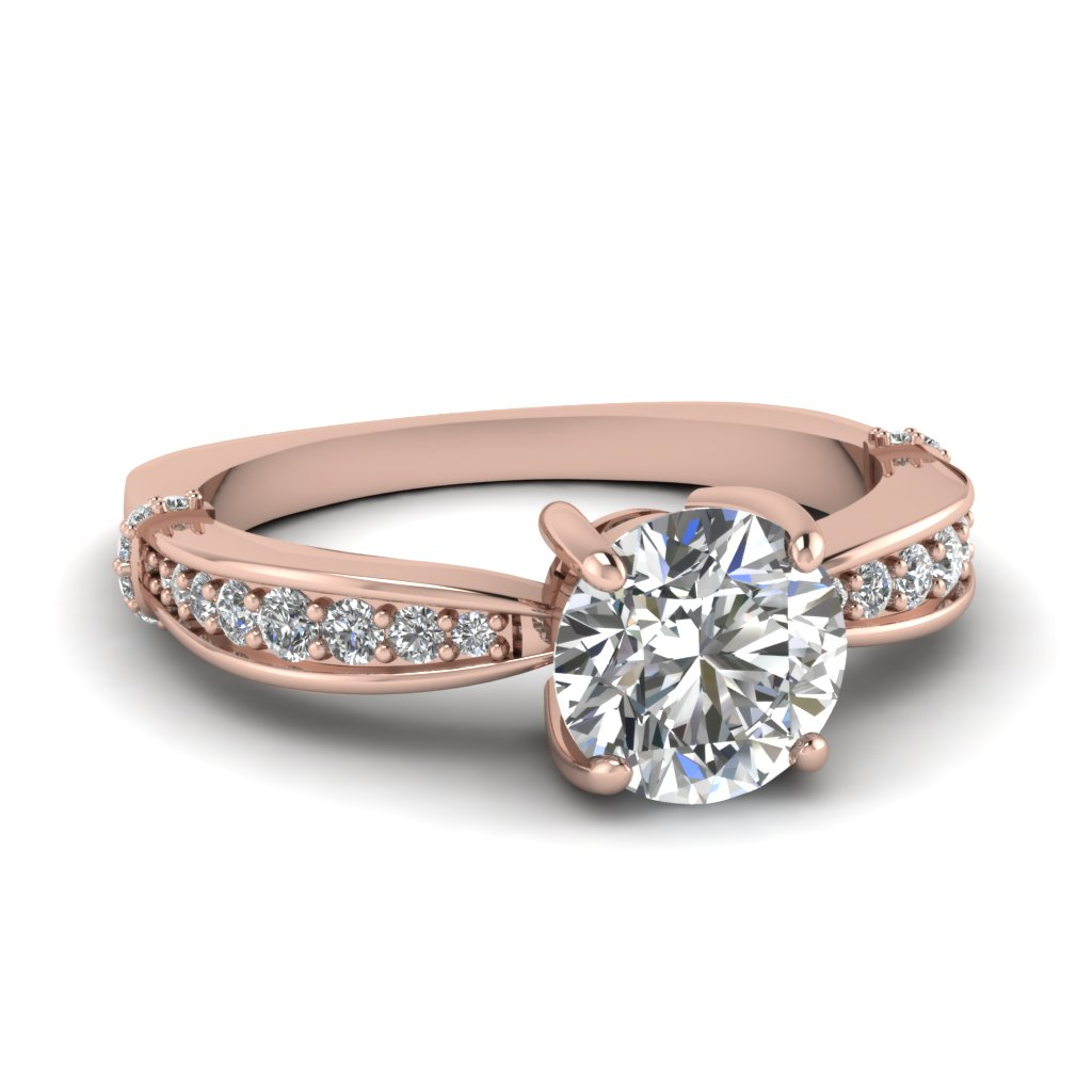 Round Cut Graduated Accents Round Diamond Vintage Wedding Ring In 14K Rose  Gold FD67852ROR NL RG