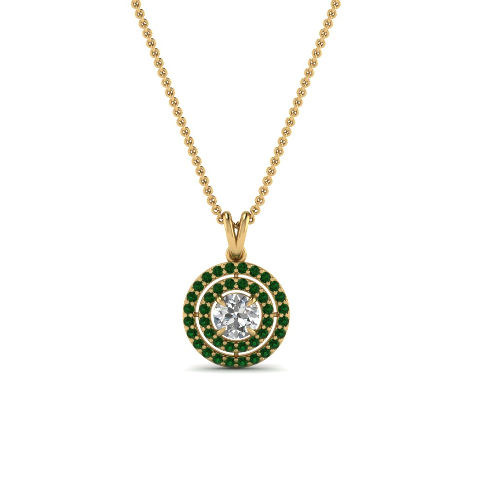 emerald double halo pendant in 18K yellow gold FDPD1190ROGEMGR NL YG GS