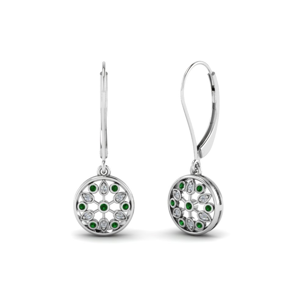 Round Cut Green Emerald Drop Earrings With White Diamond In Sterling Silver Fd Ear67993gemgr Nl