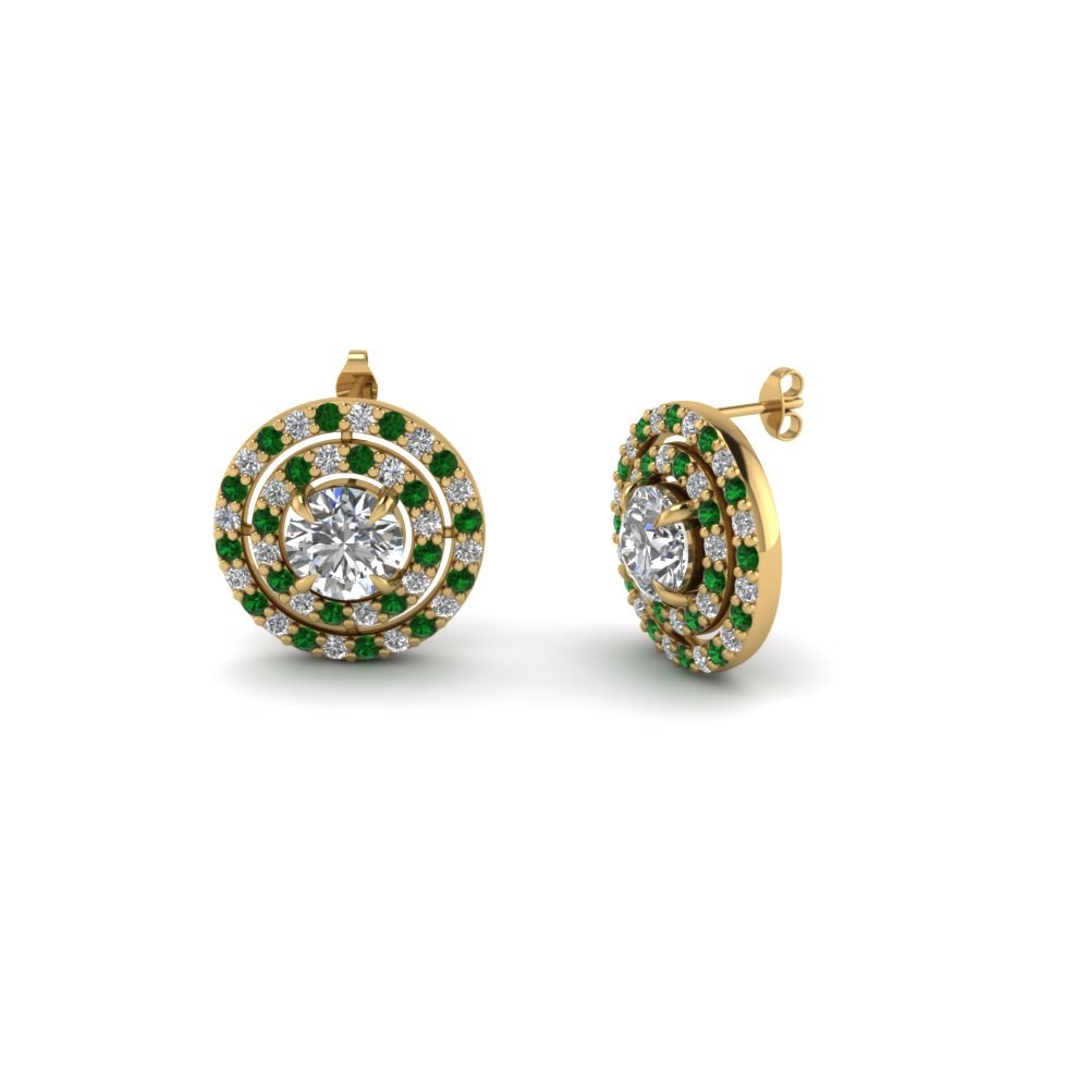round cut diamond double halo stud earrings with emerald in FDEAR1189ROGEMGR NL YG