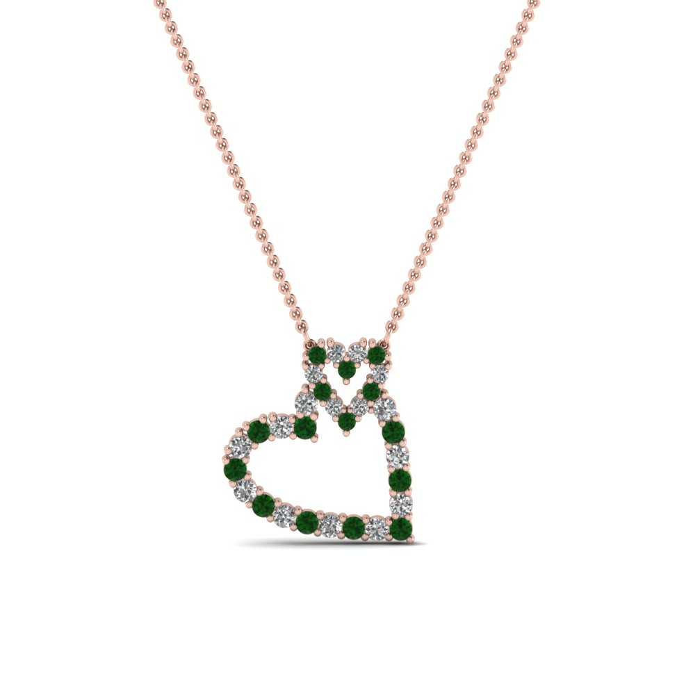Round cut green emerald heart pendant in 14k rose gold fascinating round cut green emerald heart pendant in 14k rose gold fdhpd343gemgr nl rg aloadofball Images