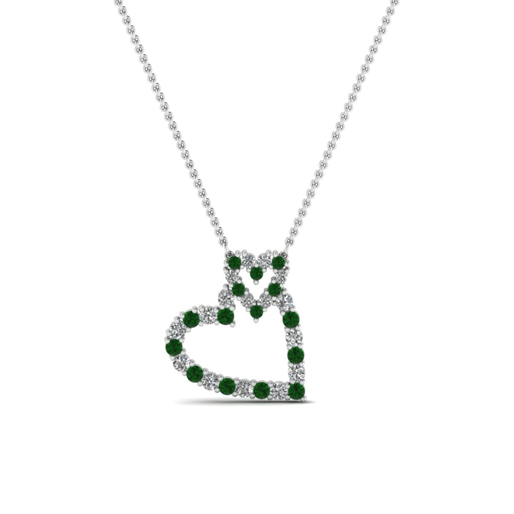 Round cut green emerald heart pendant in 14k white gold round cut green emerald heart pendant in 14k white gold fdhpd343gemgr nl wg aloadofball