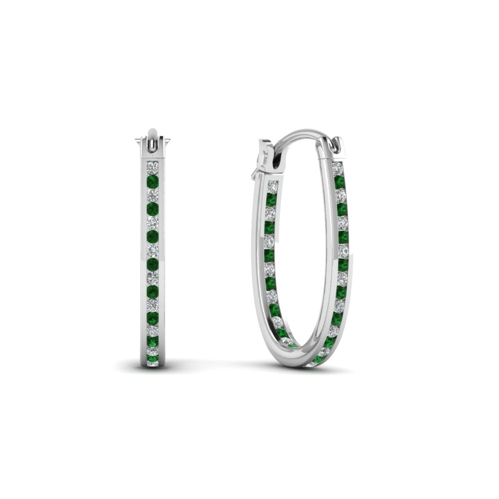 diamond hoops earrings with emerald in 18K white gold FDEAR62190GEMGR NL WG