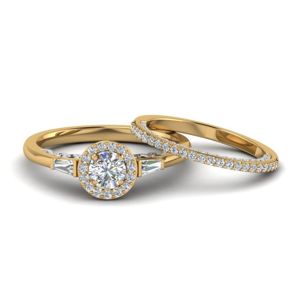 2 Tone Baguette With Halo Diamond Bridal Set In Fd122910roangle1 Nl Yg Add To Cart