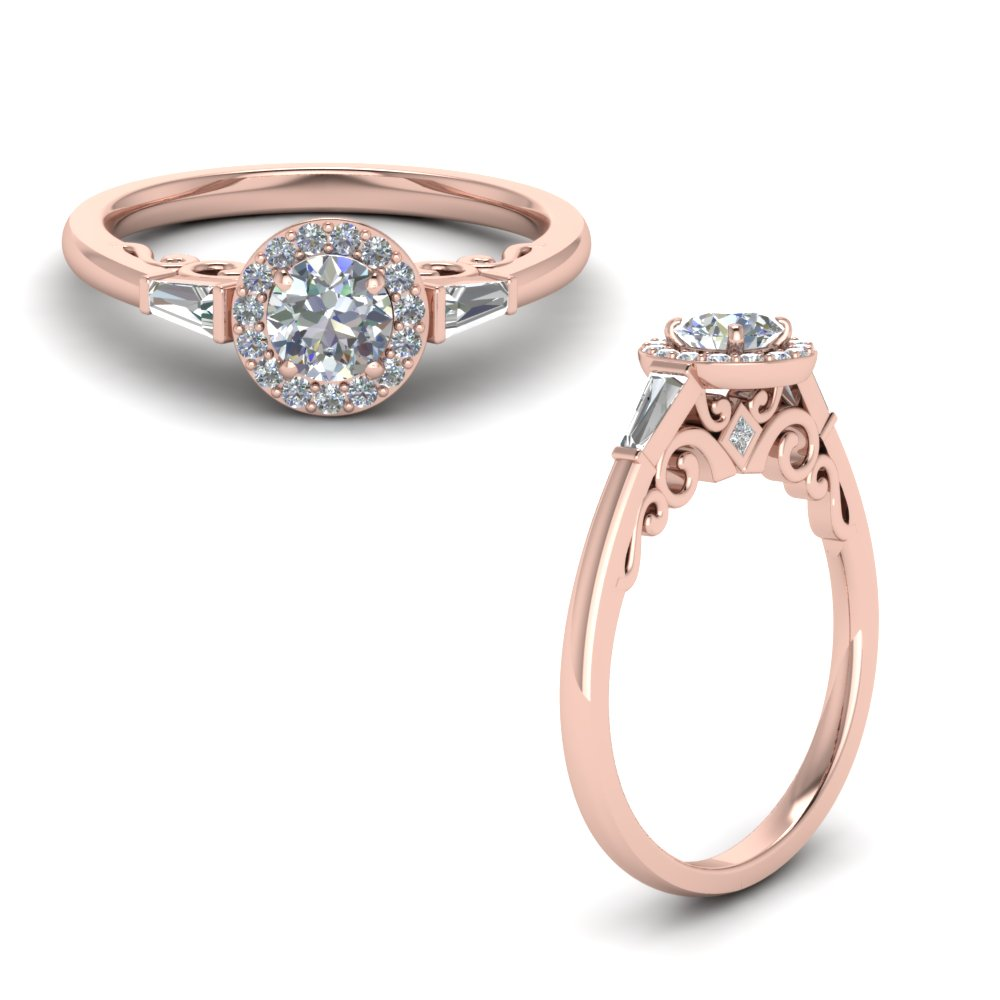 Accent Halo Baguette Ring