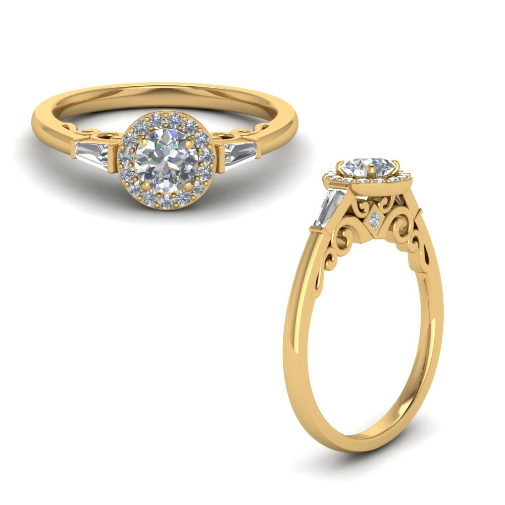 round cut halo diamond engagement ring with baguette in FD122910RORANGLE1 NL YG