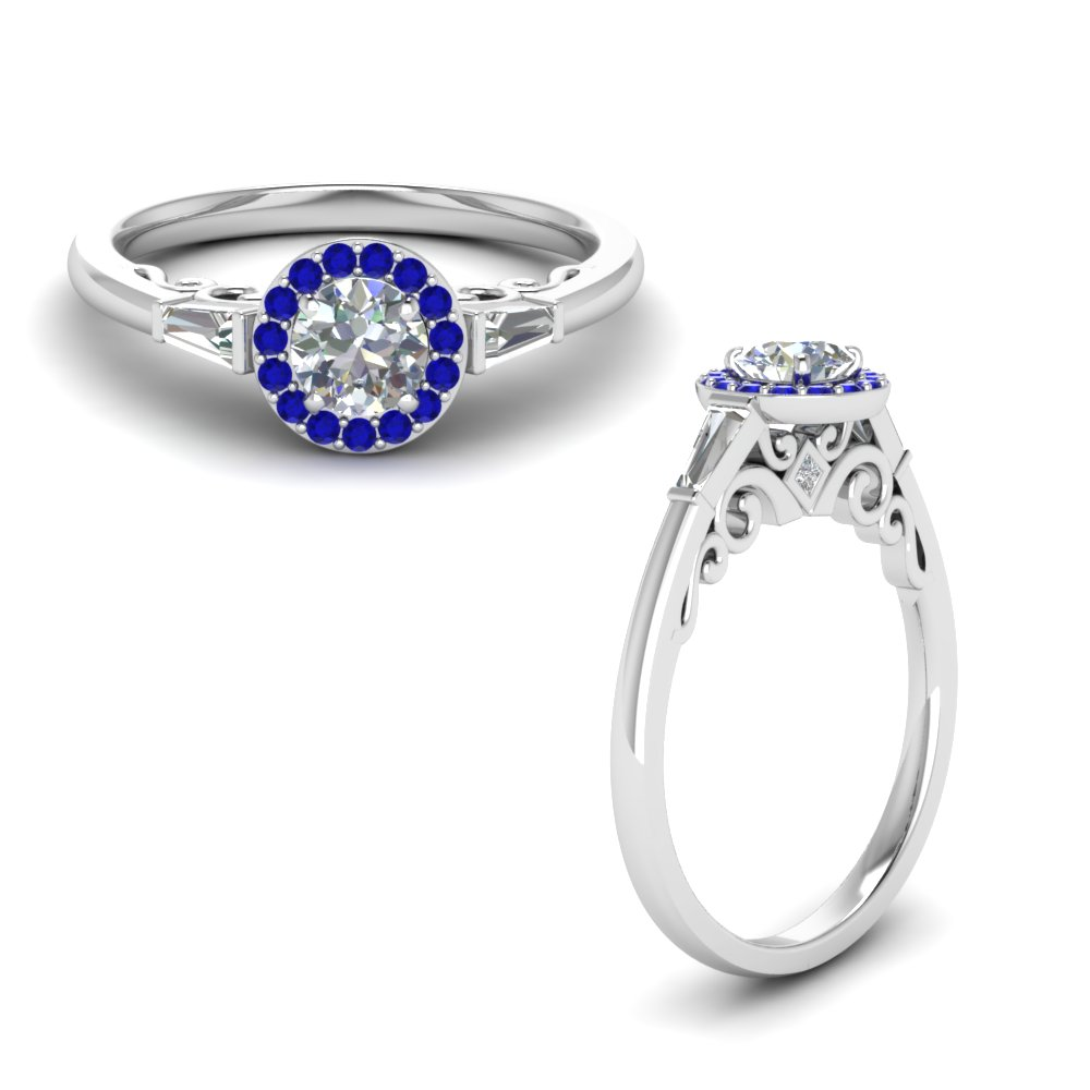 round cut halo diamond engagement ring with baguette with blue sapphire in 14K white gold FD122910RORGSABLANGLE1 NL WG