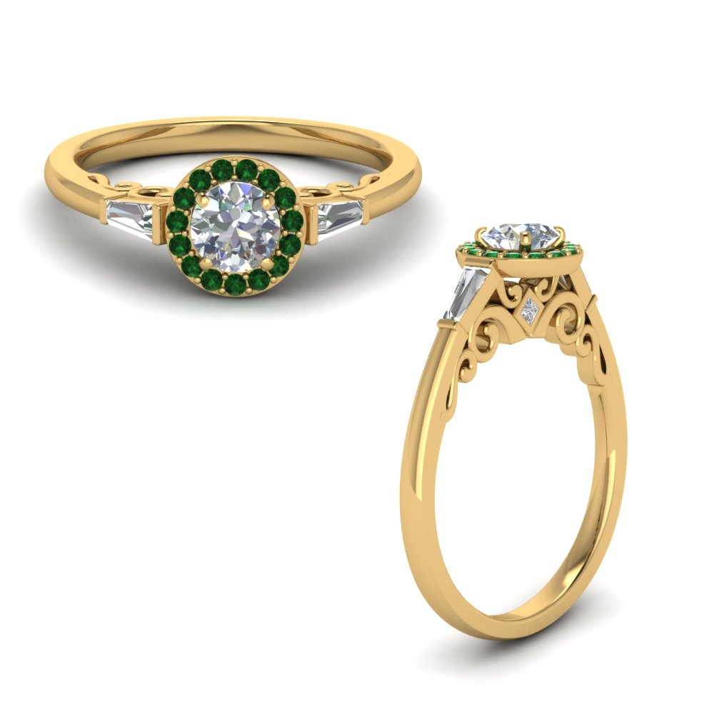 Delicate Emerald Halo Ring