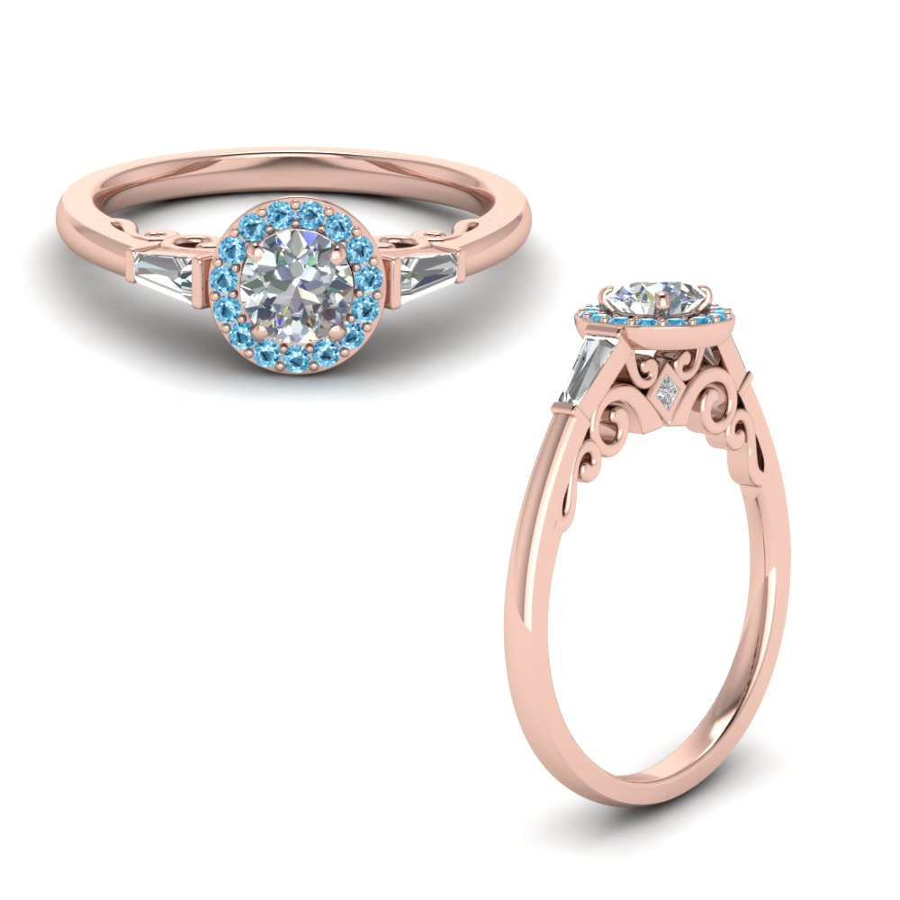 round cut halo diamond engagement ring with baguette with ice blue topaz in rose gold FD122910RORGICBLTOANGLE1 NL RG