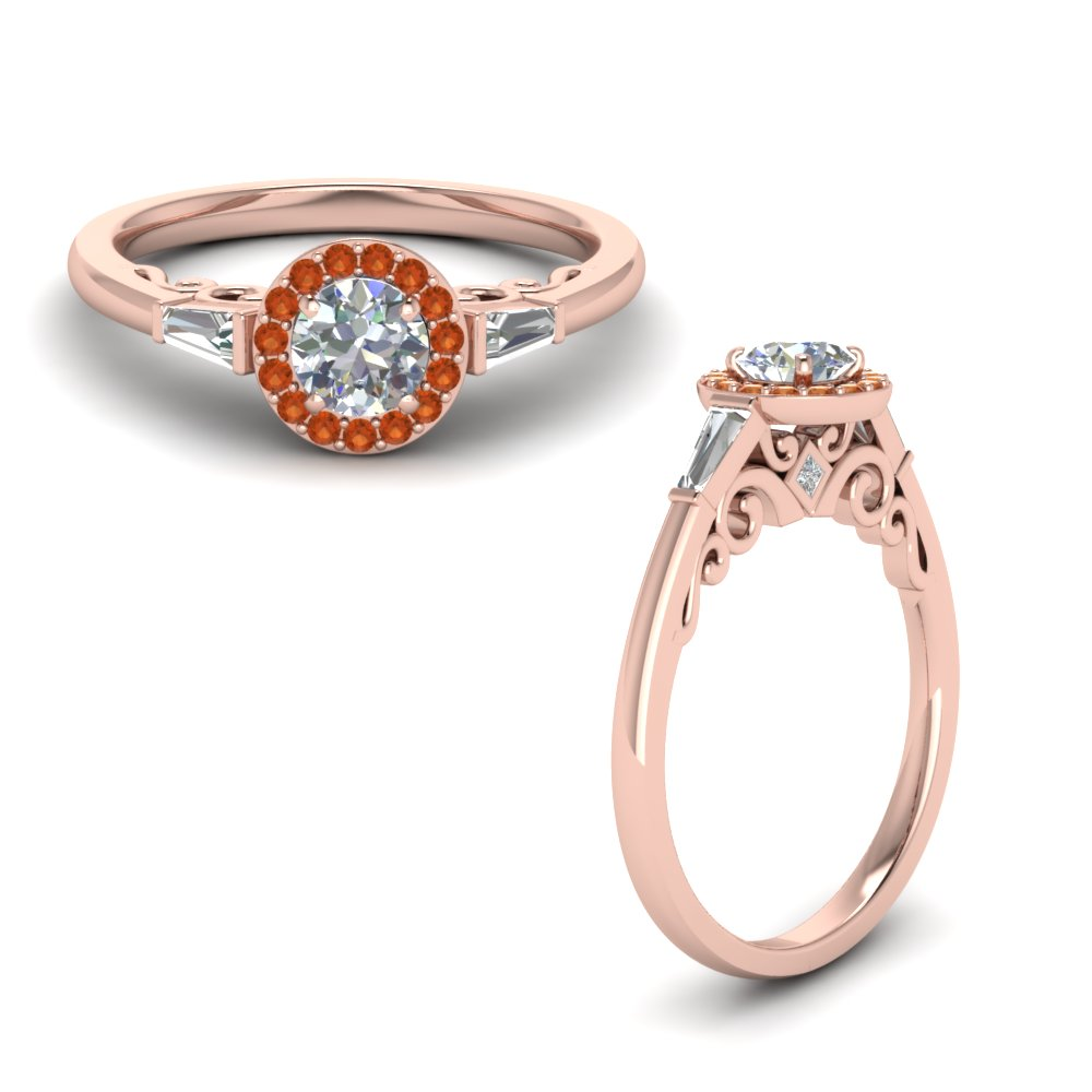 Orange Sapphire Filigree Halo Ring