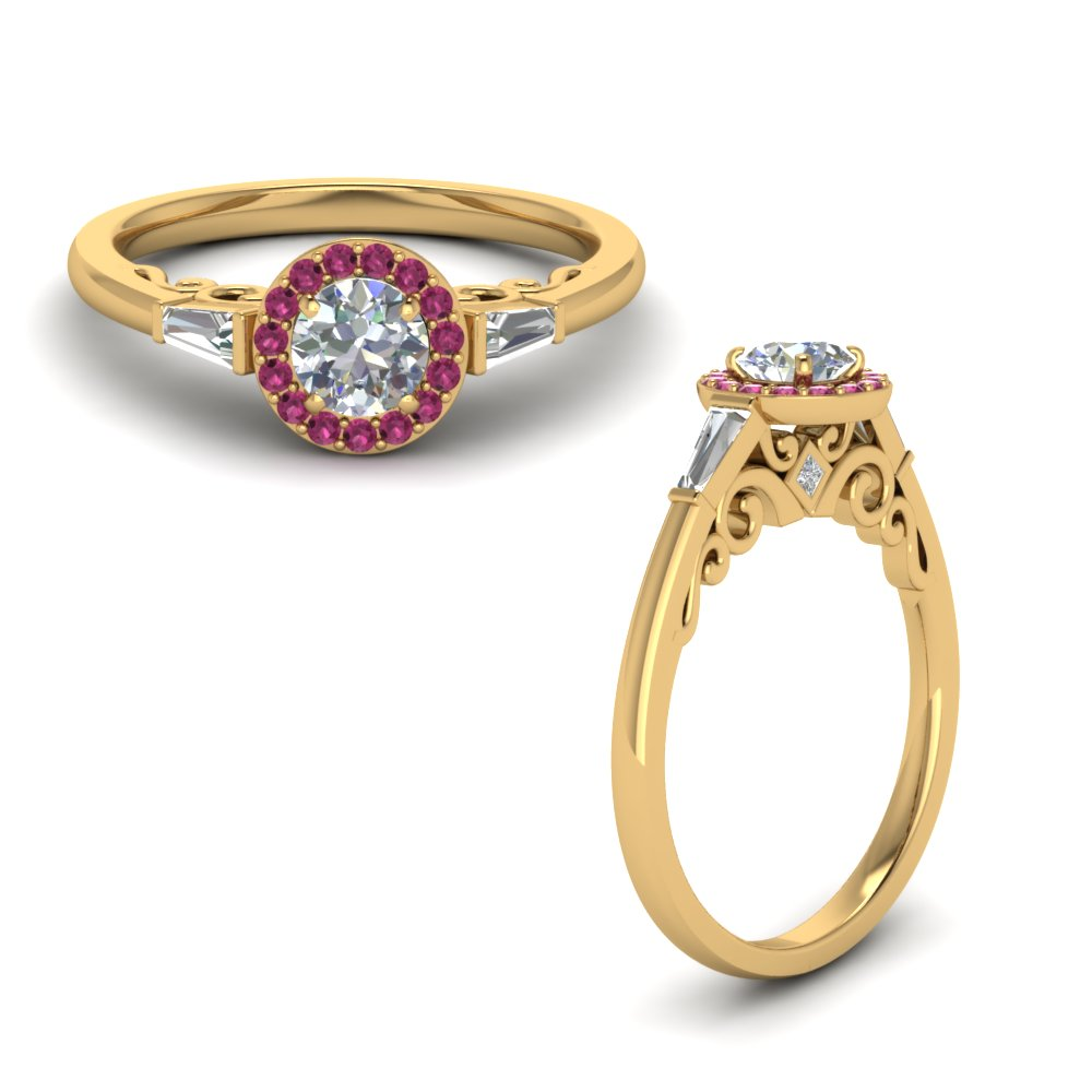 Round Shaped Pink Sapphire Ring
