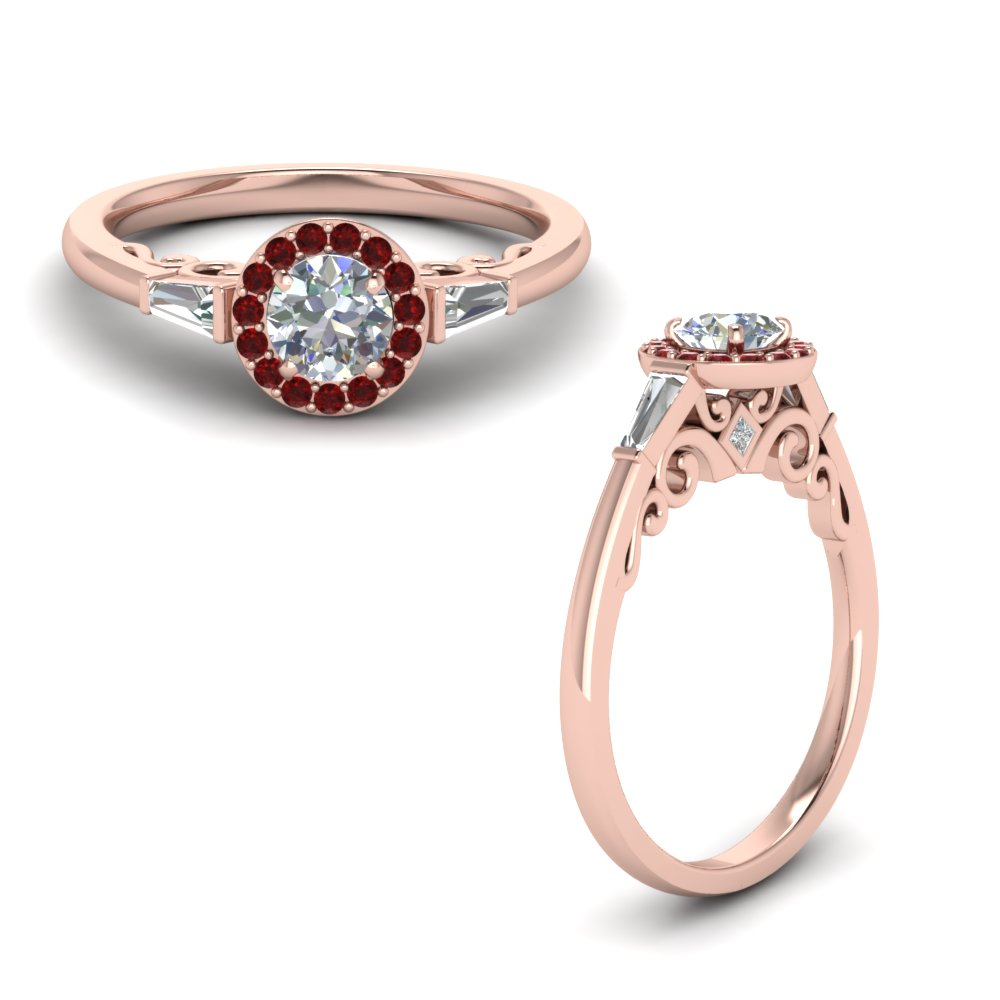 round cut halo diamond engagement ring and baguette with ruby in FD122910RORGRUDRANGLE1 NL RG