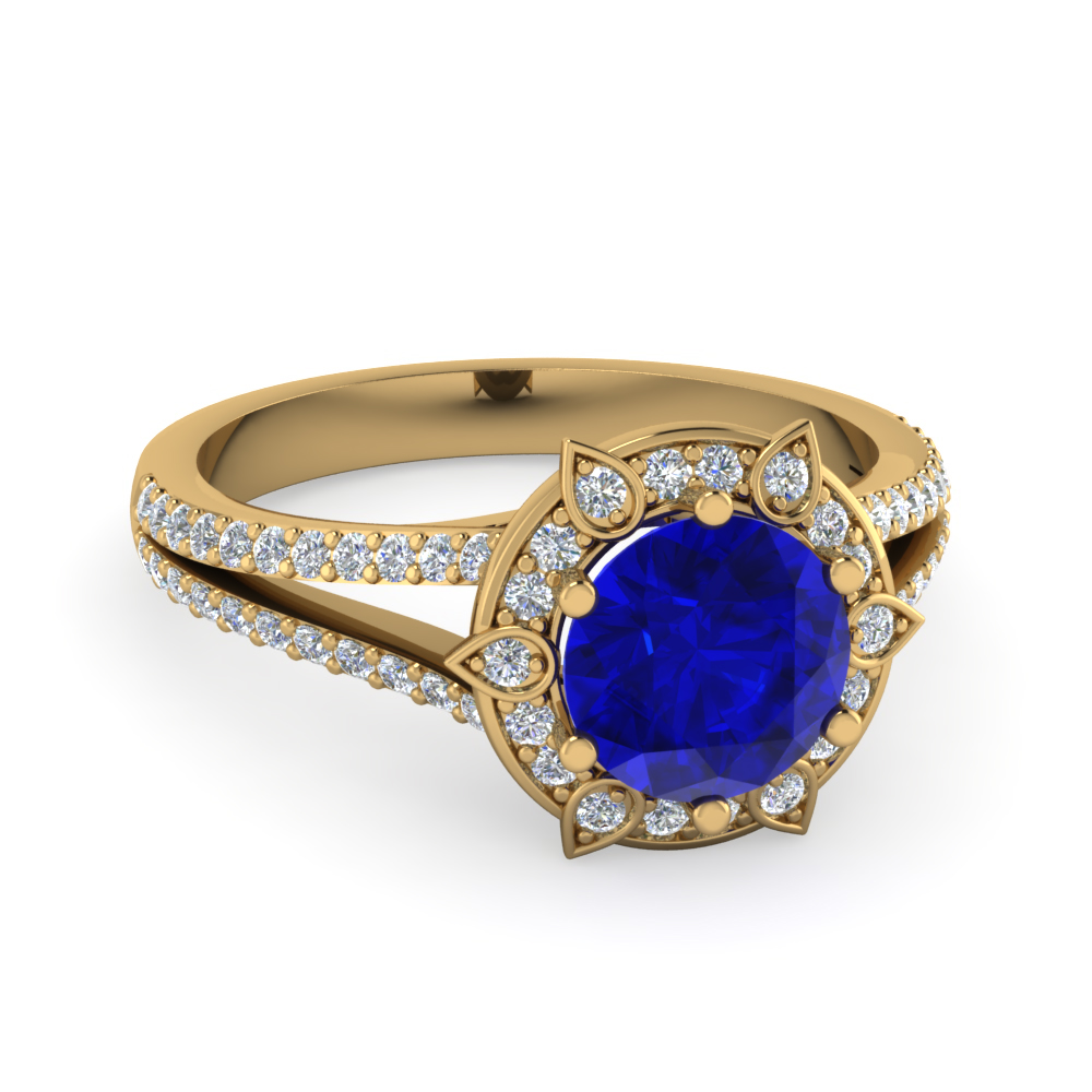 gold ring rose sapfir product with diamond en sapphire goldsmith store