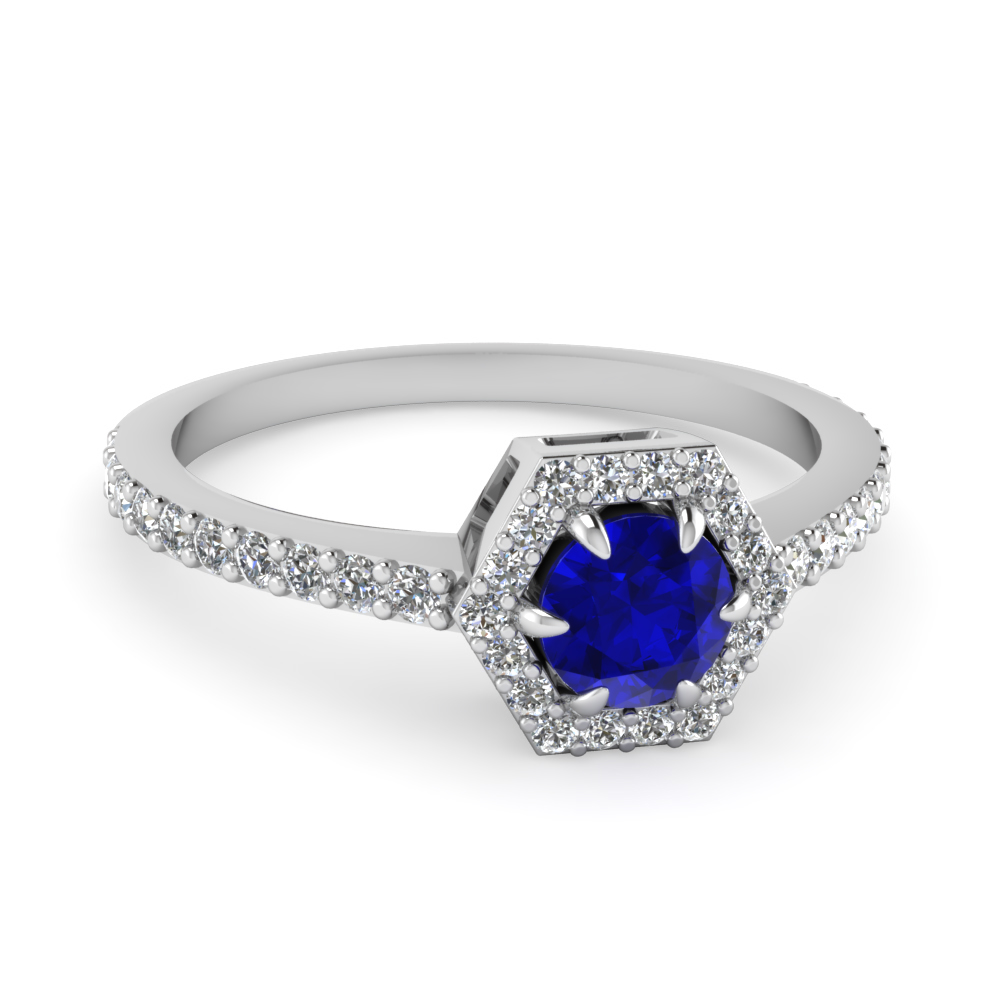 round cut halo diamond engagement ring with blue sapphire gemstone in 950 Platinum FD1173RORGBS NL WG