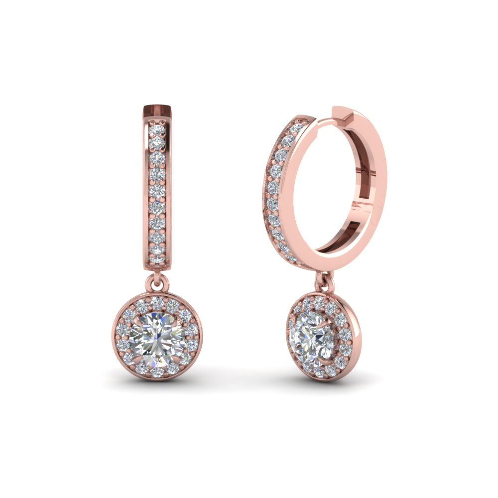Round Halo Diamond Hoop Earring