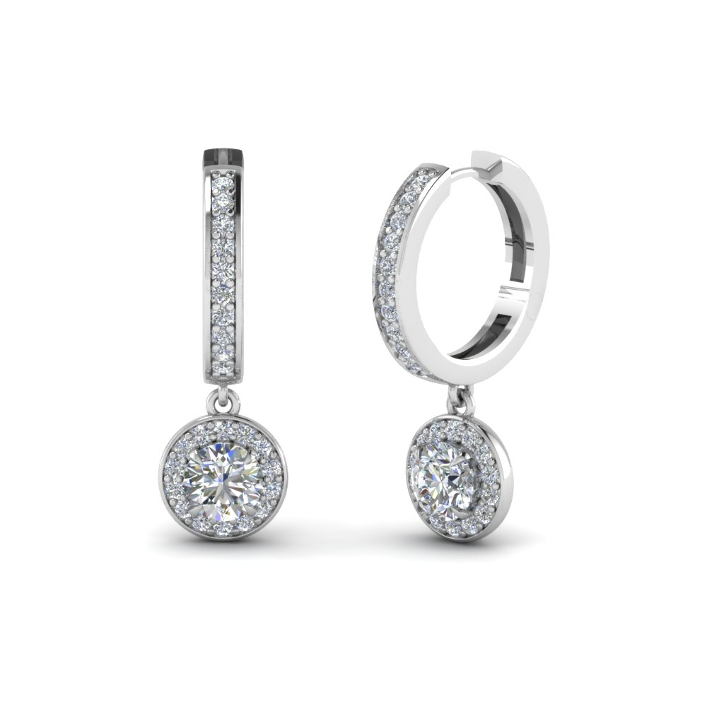 Platinum Round Halo Diamond Earring
