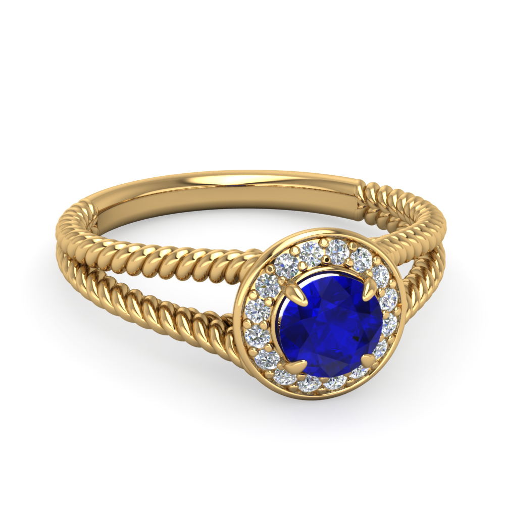 Cheap Pave Split Sapphire Engagement Ring in Yellow Gold